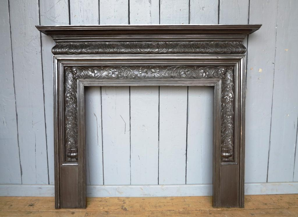 Antique original old reclaimed coalbrookdale cast iron Victorian Mantle piece polished ready to view in our office