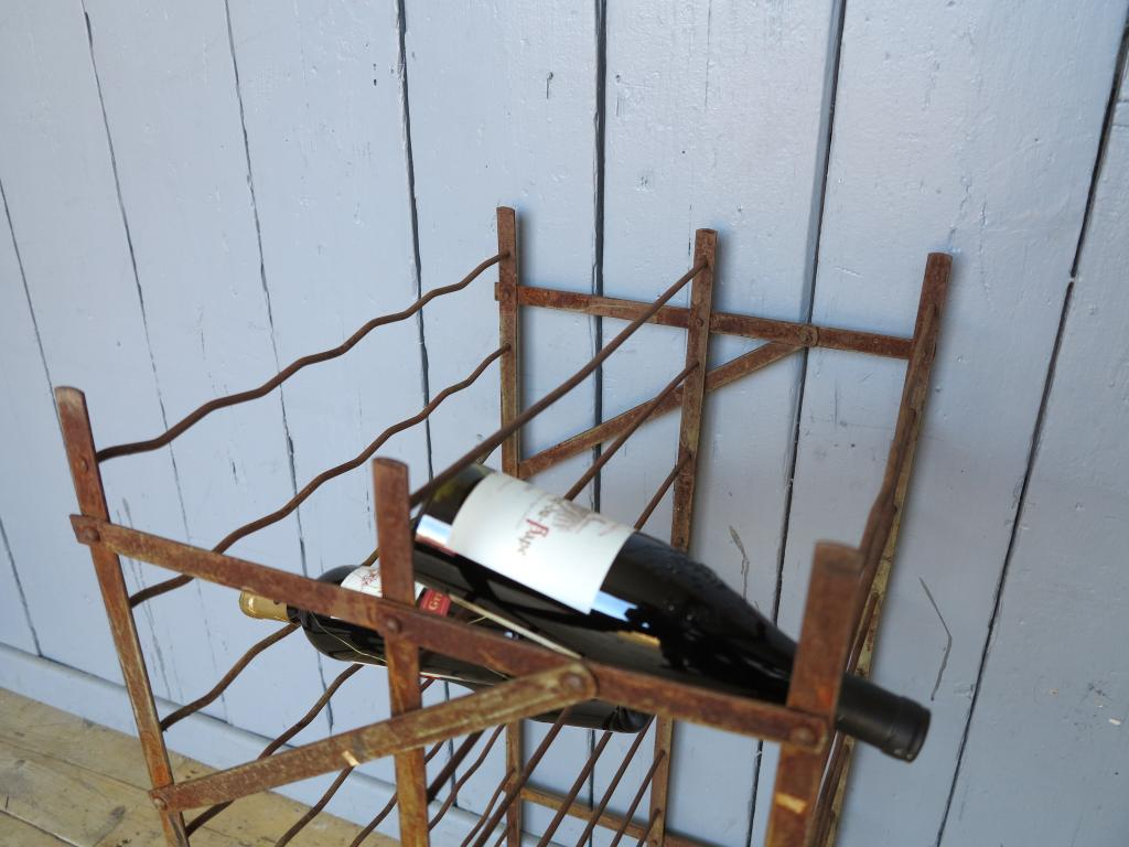 Free standing antique wrought iron wine rack 100 bottle storage cellar ebay - Wine racks wrought iron floor standing ...