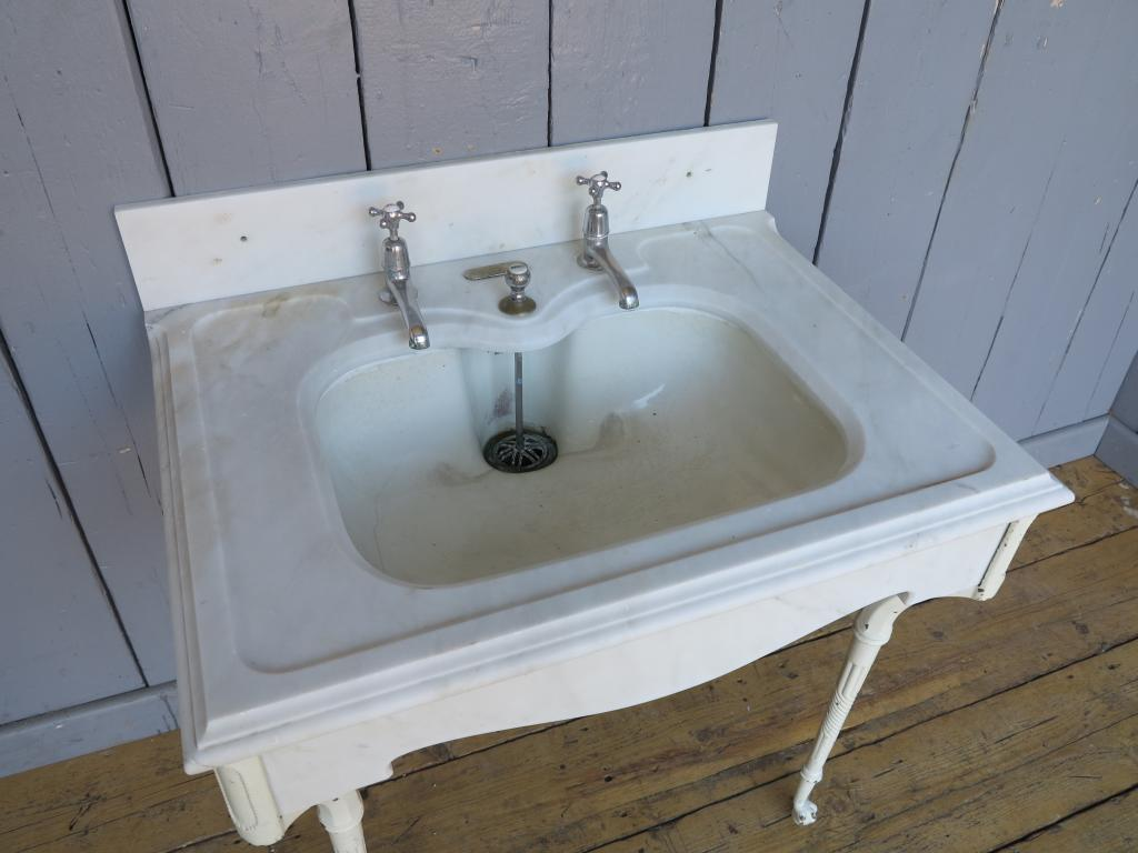 Antique Marble Sink : Antique Marble Sink & Brass Legs Stand 7680