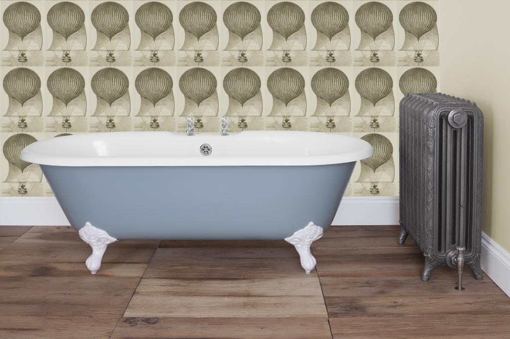 Double ended Ashby Victorian style roll top cast iron bath with clean new enamel interior and claw feet with or without tap holes, antique traditional design