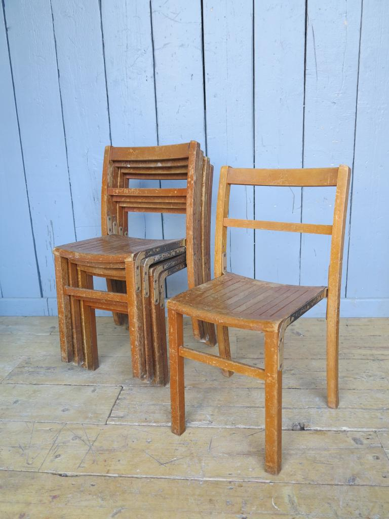 42 available vintage wooden reclaimed stacking chairs