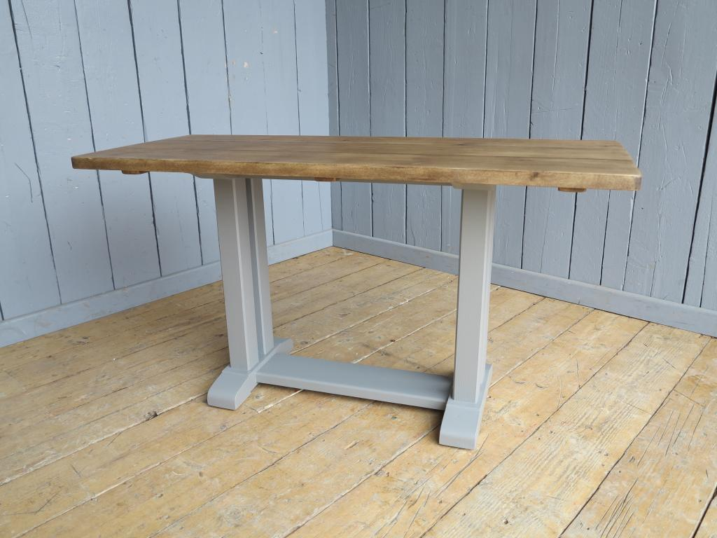 Original refectory style painted table with a chunky thick traditional top made from reclaimed pine planks available in a size of your choice