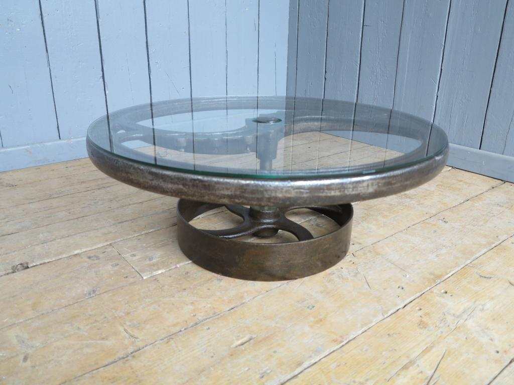 Large Vintage Industrial Glass And Cast Iron Coffee Table 7707