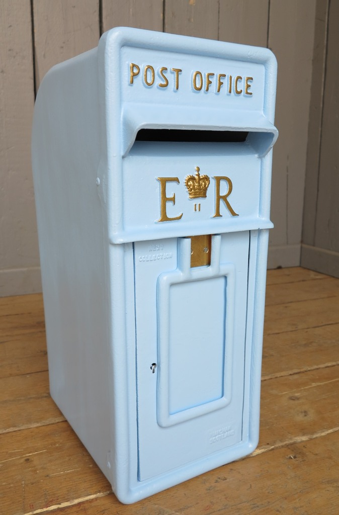 Original antique salvaged old royal mail pole mounted post box ready to be painted in a colour of your choice