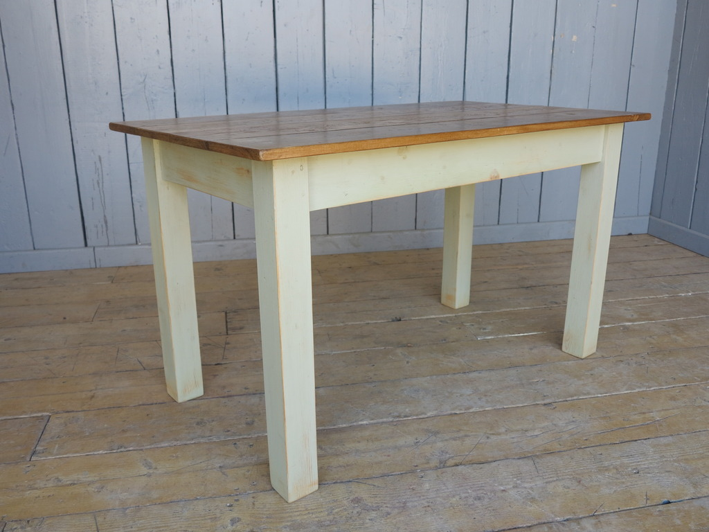 Made to measure traditional vintage industrial style tables made from reclaimed pine in a painted distressed finish