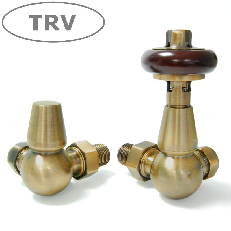 Faringdon Corner thermostatic radiator valve in antique brass available in manual ideal for reclaimed cast iron radiators with feet and new Carron radiators