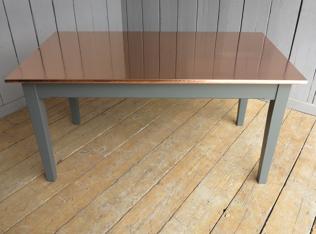 Natural copper chunky table with reclaimed pine legs made to your personalised sizes and hand delivered