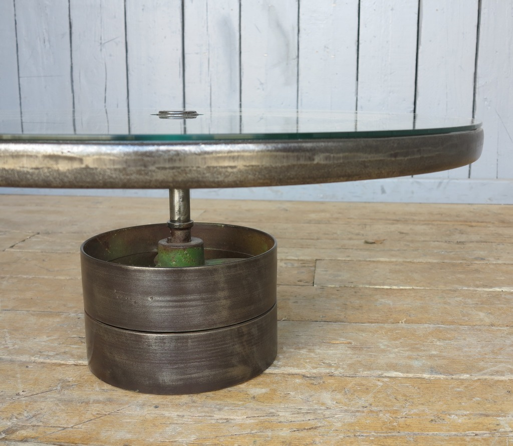 Vintage Industrial Glass And Cast Iron Coffee Table 7929