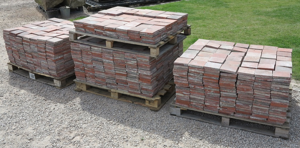 Antique original reclaimed Victorian terracotta quarry tiles available for delivery worldwide