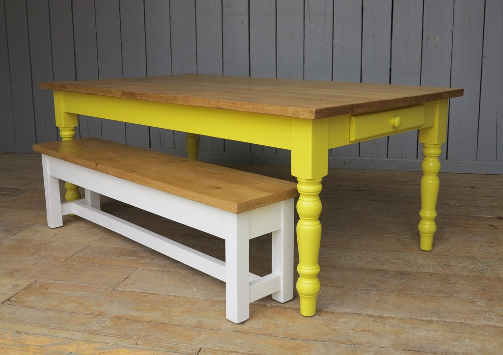bespoke handmade wooden plank top rustic kitchen with a painted base made from reclaimed wood such as pine ideal for dining rooms or country style kitchens