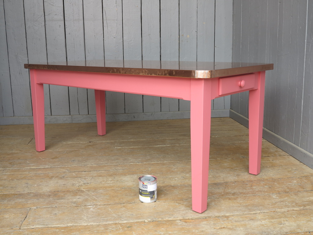 Copper top tables bespoke made to your sizes and painted in Farrow and Ball, Dulux or RAL colours