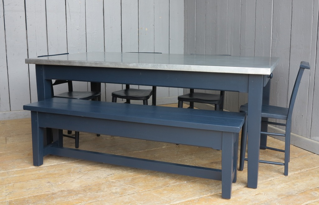 Custom metal tabletop and bench