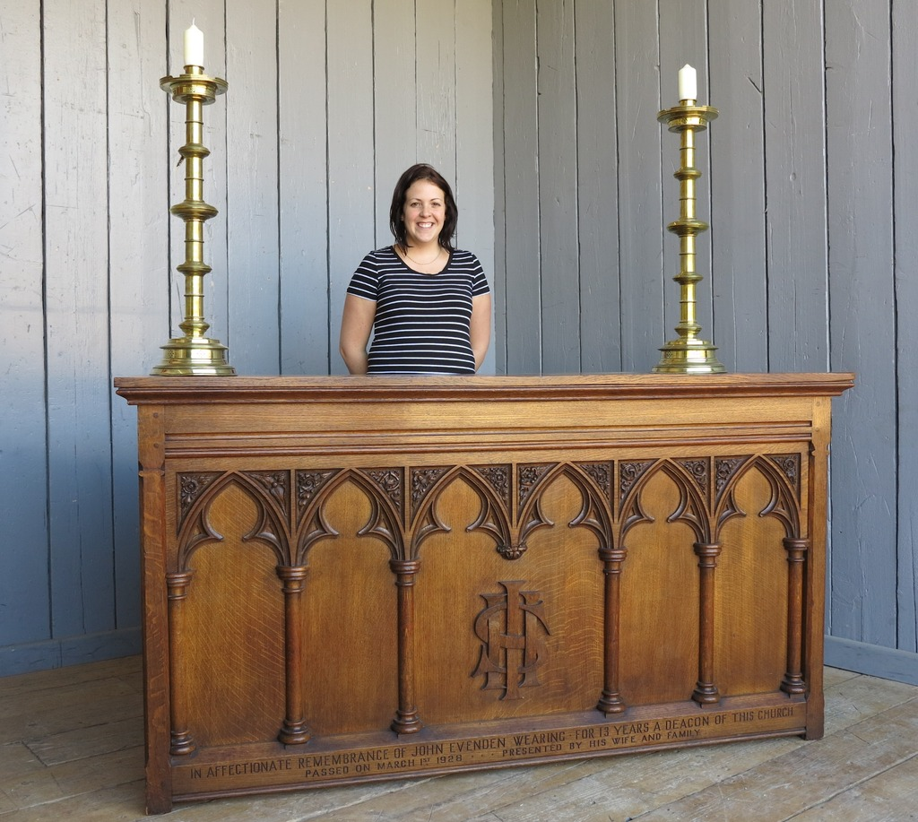 Original Antique Solid Oak Altar Table or Desk Ready for Delivery worldwide