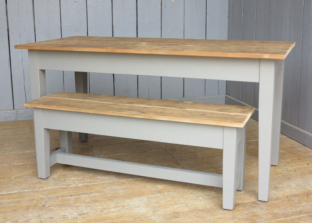 Made to measure tapered leg classical tables made from reclaimed pine built to you specifications here in our yard