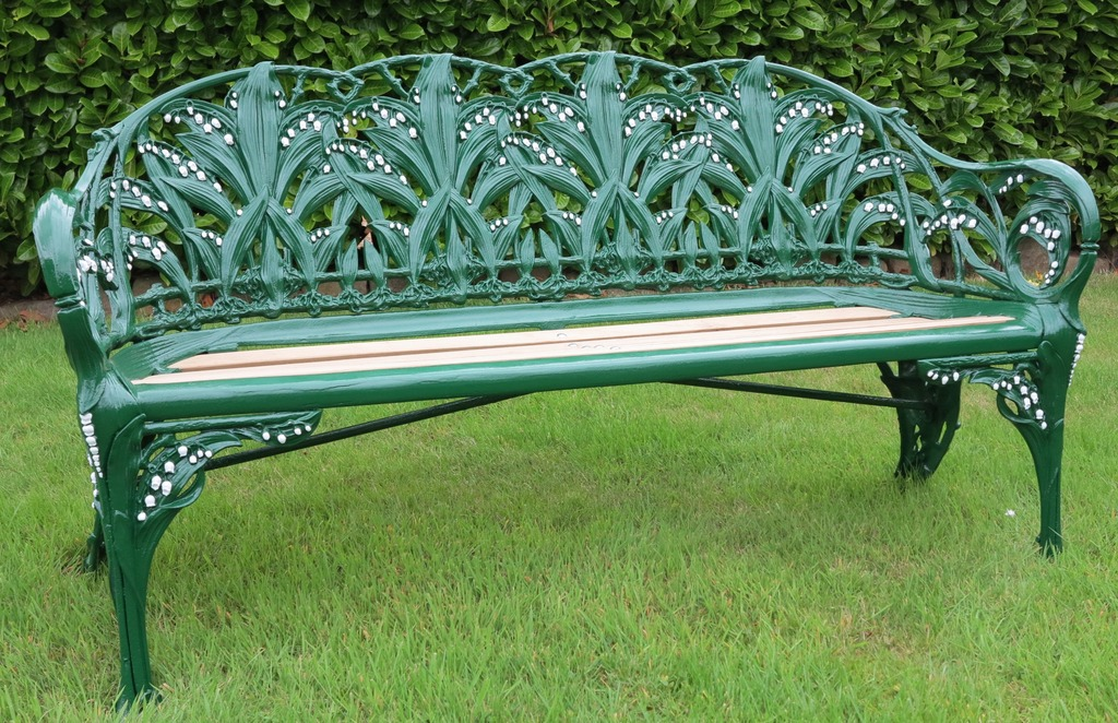 This Colebrookdale Lily of the Valley cast iron bench has been restored here at our reclamation yard in Cannock Wood Staffordshire.  We have a selection of vintage garden seating and benches availble ranging from wrought iron work, timber, cast iron and reconstituted stone.