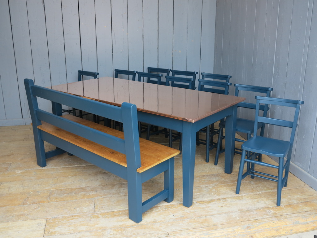 Traditional style farmhouse table, benches and chairs are available to view in our showroom