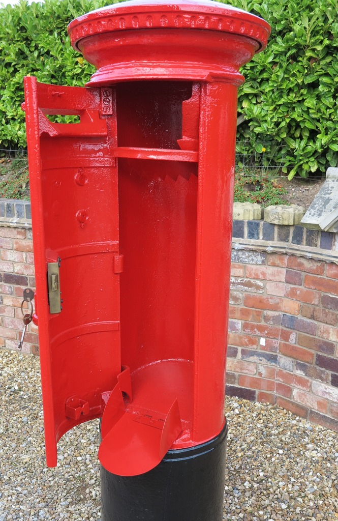 original antique reclaimed fully refurbished antique pillar boxes available to view in our showroom