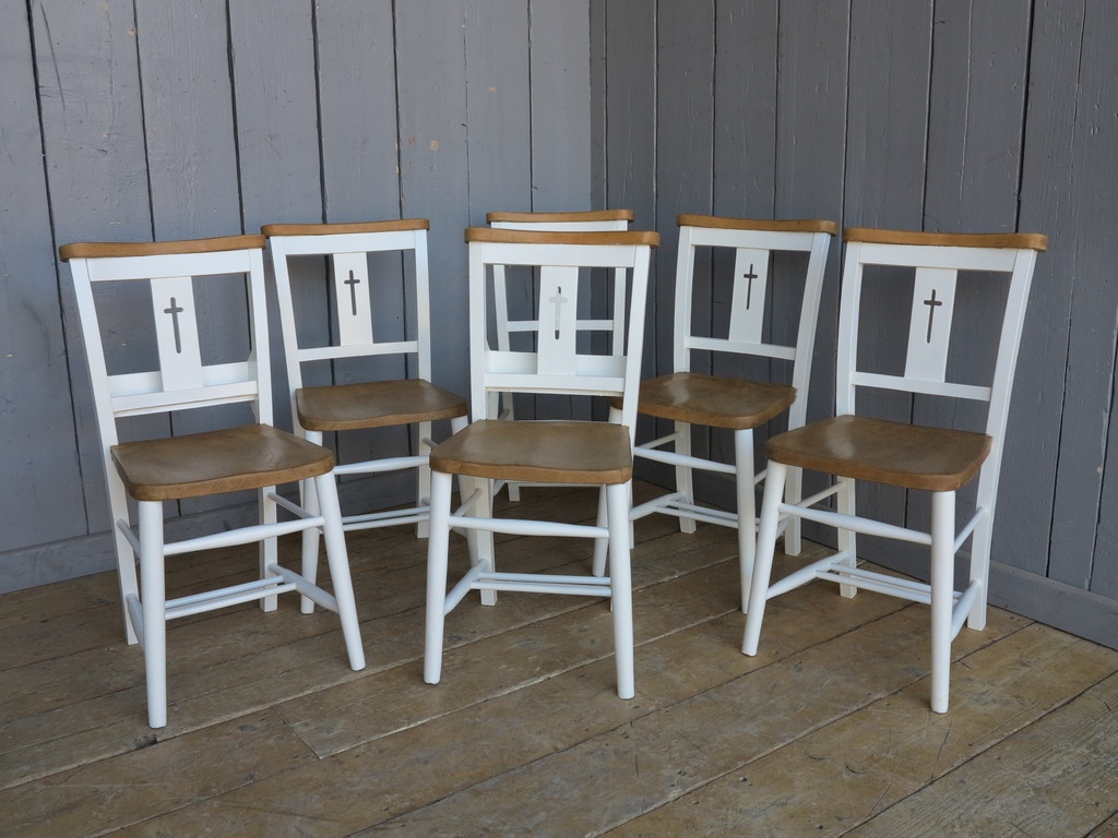 We have antique church chairs available that can be painted in your colour choice