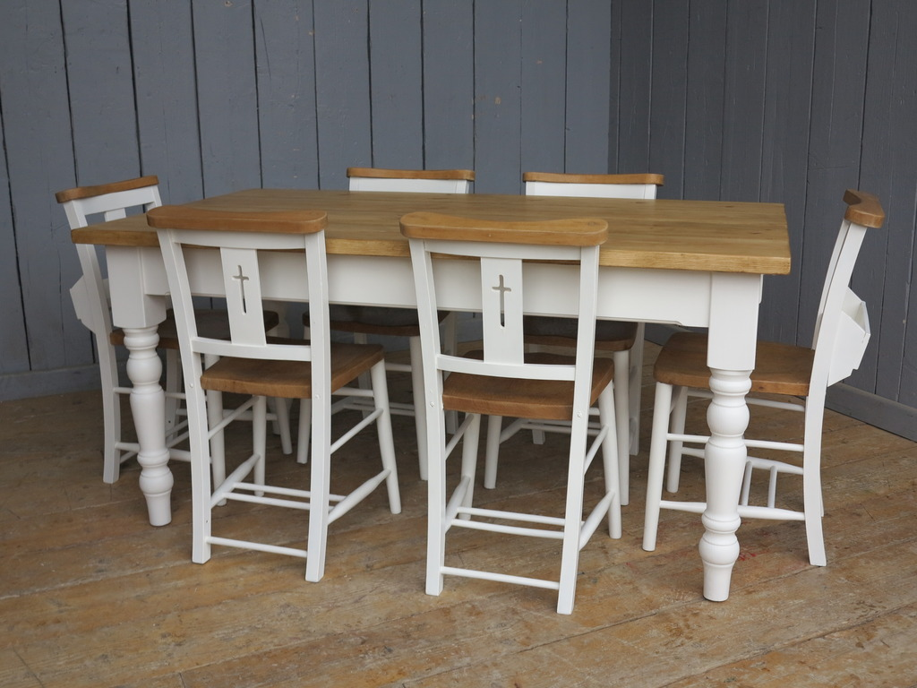 Traditional antique pine farmhouse style turned leg table any size made with original painted Church and Chapel chairs available to view in our showroom