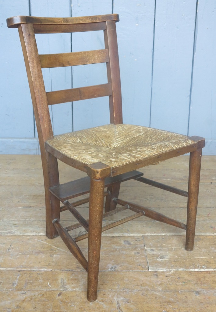 Original Reclaimed Rush Seated Church Chairs in our Staffordshire Shop