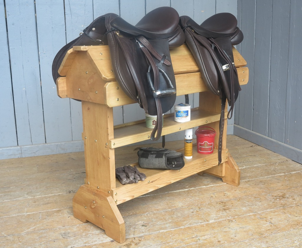 saddle racks made to your bespoke sizes from reclaimed pine in Staffordshire are traditional styles and very hardwearing and good quality