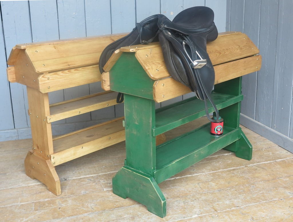 saddle racks made from reclaimed pine in traditional styles with shelves for storage are made to measure and painted or waxed in a colour of your choice