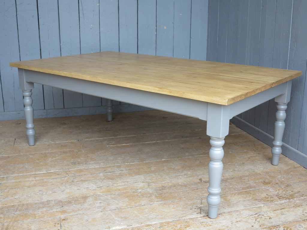 Traditional farmhouse style tables made from chunky reclaimed boards can be made in your bespoke sizes and painted in a colour of your choice