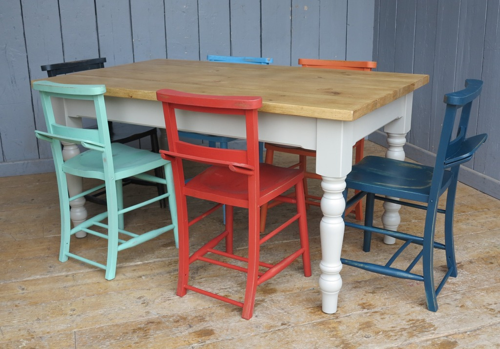 Reclaimed Pine Made To Measure Farmhouse Table And Painted Church Chairs Available At UKAA