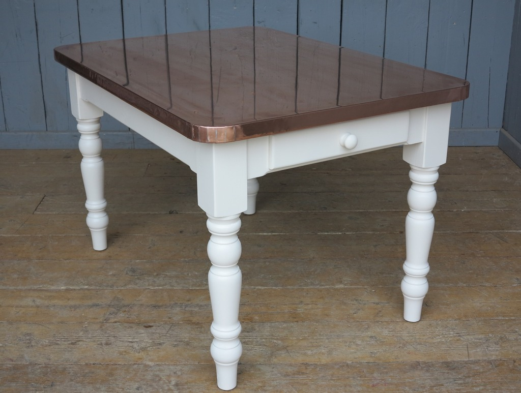 Bespoke made to measure natural copper top turned leg table with a painted base made in your required sizes