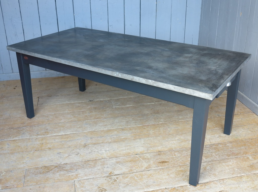 Antiqued finish natural zinc top table bespoke made to fit into any modern kitchen and are available to view in our showroom