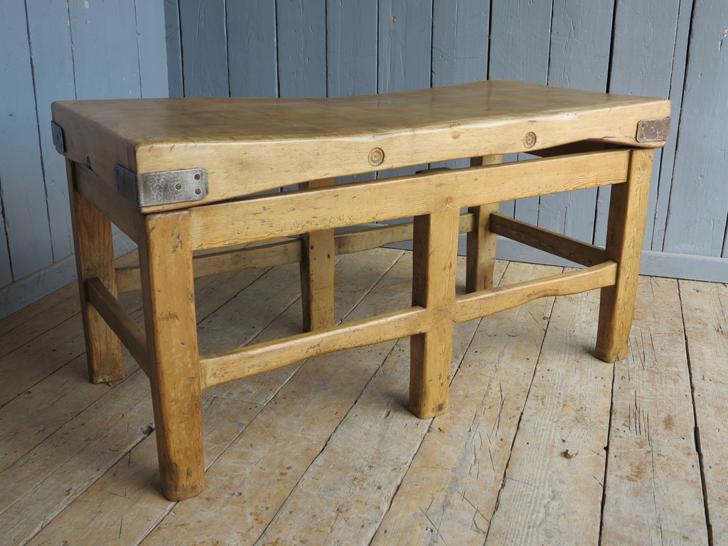 Original antique butchers chopping block made from wood are fully refurbished and available for delivery worldwide