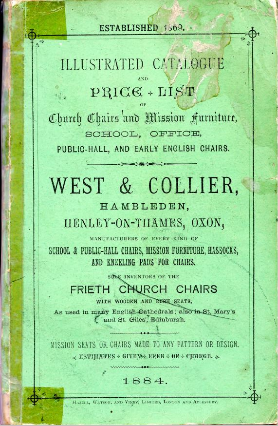 West And Collier Ltd Illustrated Brochure of Church Furnishings Dated 1884