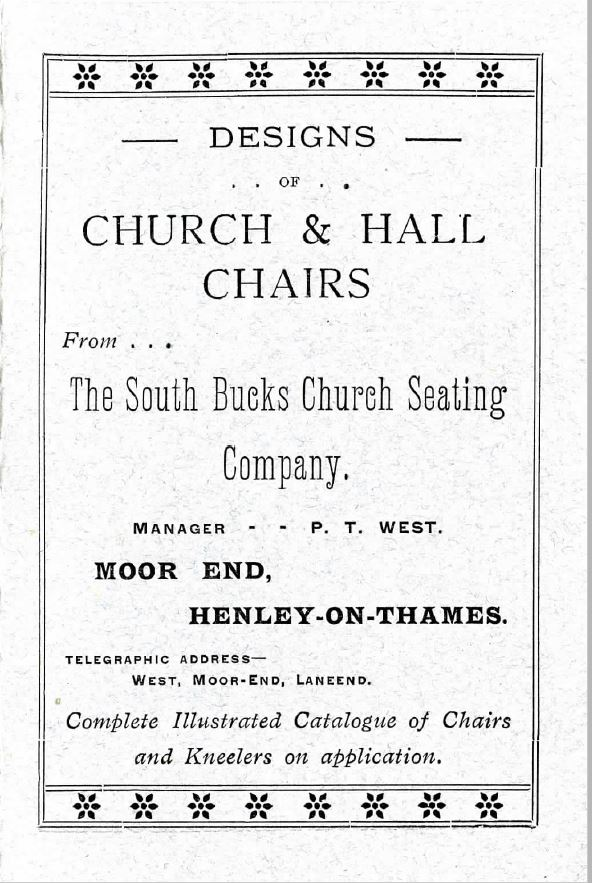 An Old Victorian Brochure catalogue Of Church And Chapel Chairs
