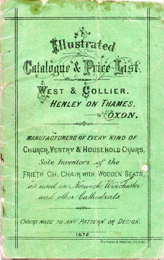 Original West And Collier Original Church Furnishing Dated 1872 catalogue
