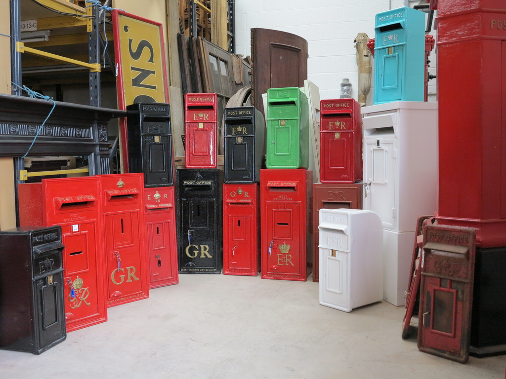 Salvaged antique fully refurbished post boxes available to view in our showroom