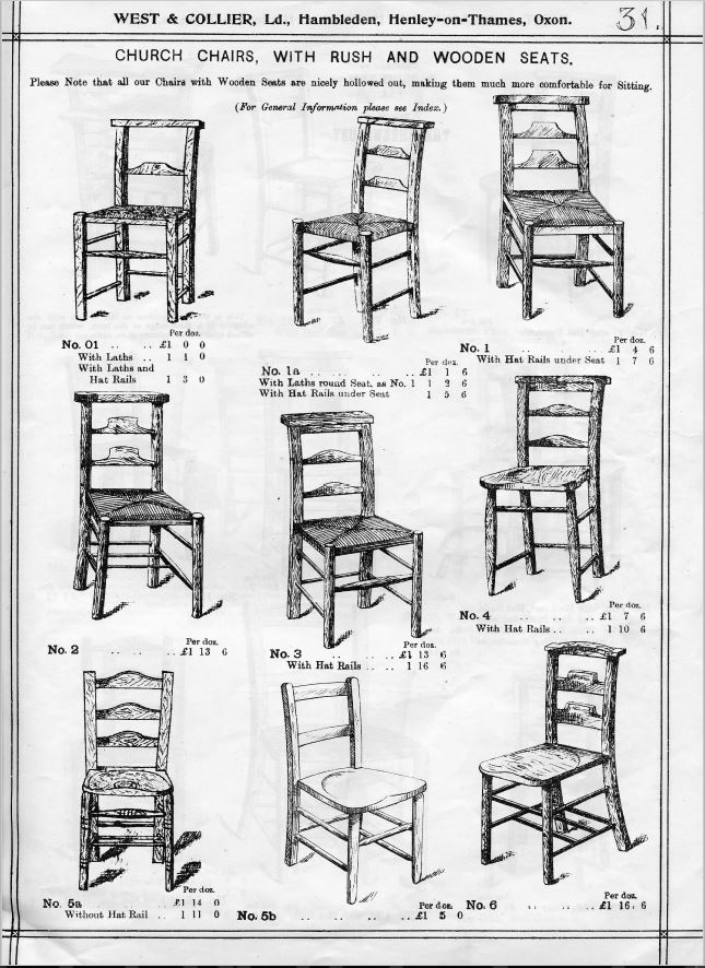 Antique Victorian School Chairs in old catalogues are available to purchase from Staffordshire