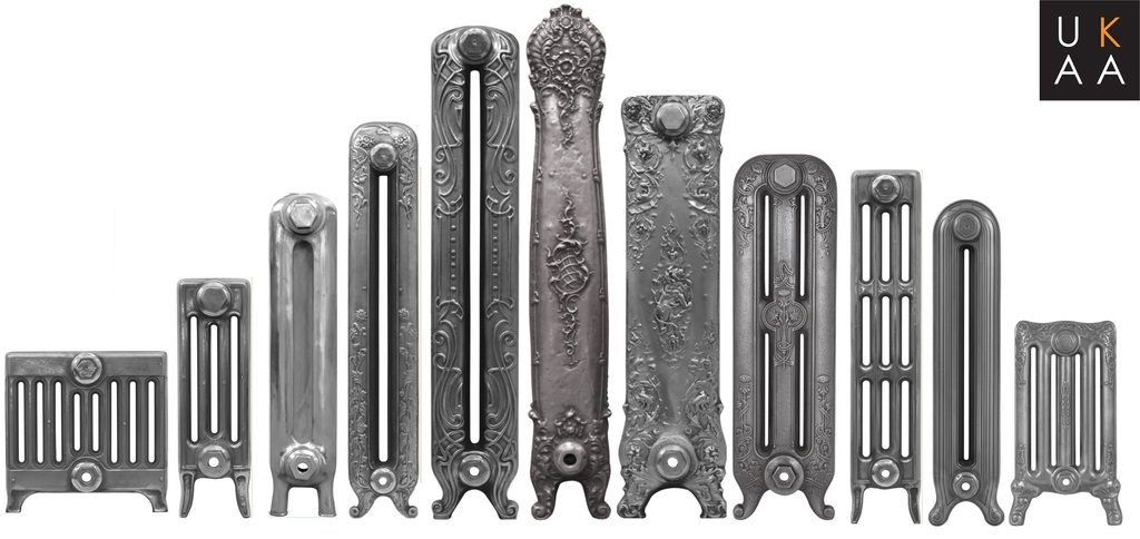 Original Victorian style cast iron radiators polished down to bare metal available for delivery worldwide