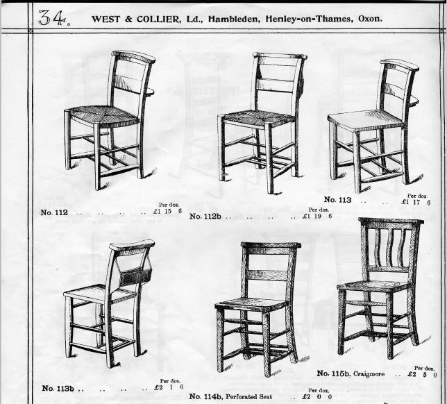 Old Antique Church and Chapel chairs featured in an old Victorian brochure are in stock