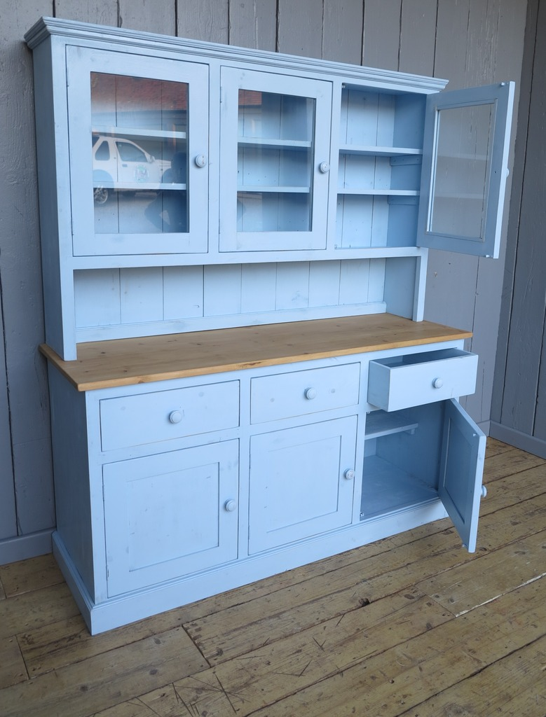 Made to measure old style kitchen dresser made from reclaimed pine and painted in farrow and ball in our warehouse