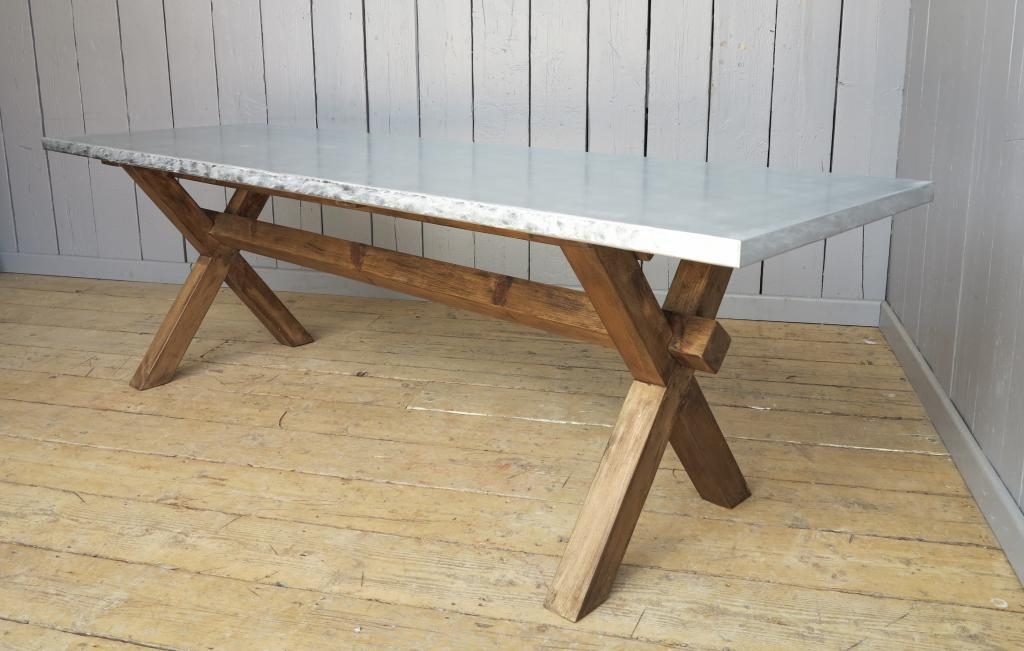 Matt Zinc Cross Base Bespoke Table