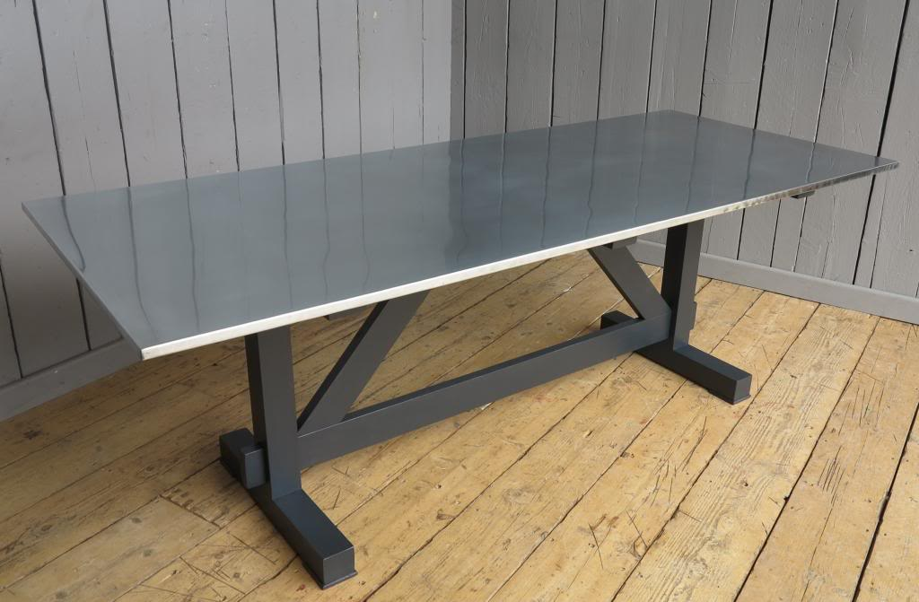 Bespoke Natural Zinc Table with Bespoke Table Base