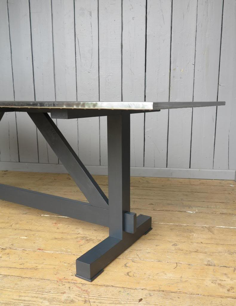 Side view of Natural Zinc Table Top with Bespoke Base