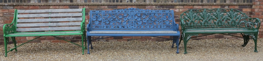 Range of reclaimed antique Coalbrookdale benches, garden furniture, hallstand and sick stands, radiators, stoves and windows for sale at UKAA