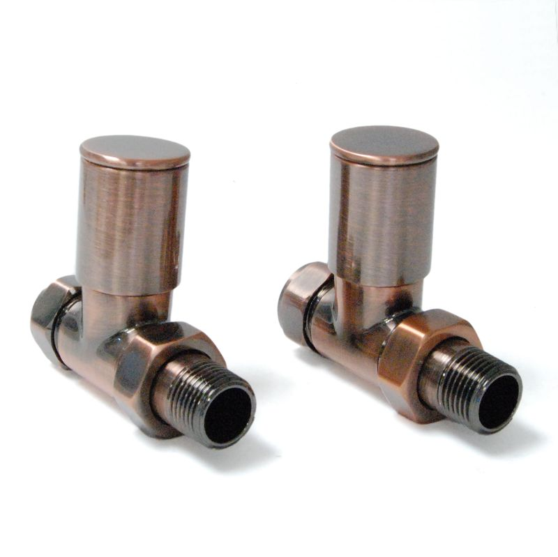Milan straight manual radiator valves in antique copper, satin nickel or chrome ideal to use on new and reclaimed antique Victorian style cast iron radiators