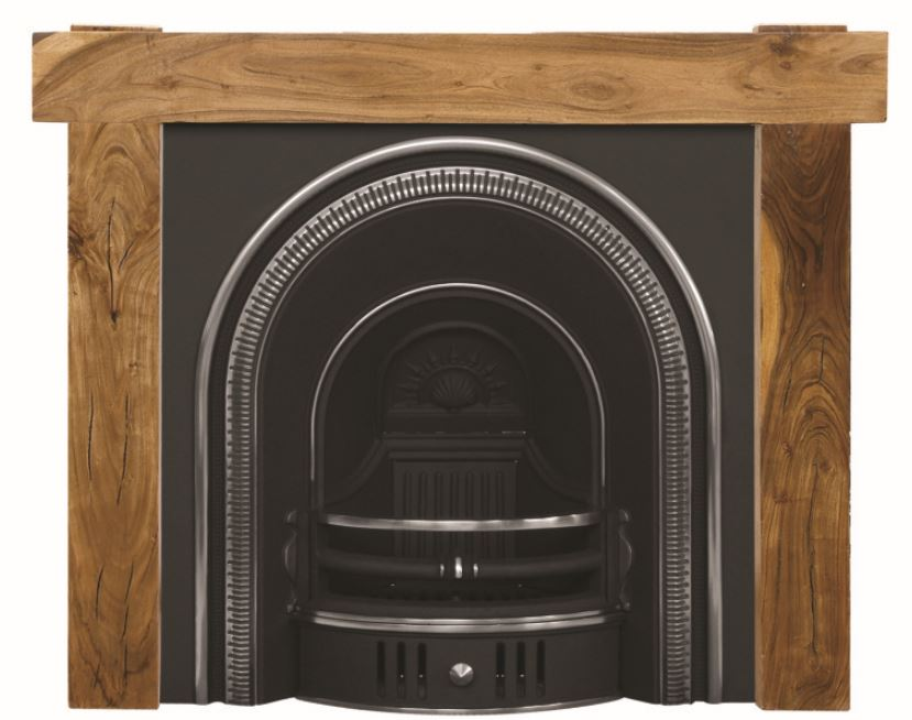 Carron Beckingham arched style highlight polish black cast iron fireplace inserts are available with wooden or cast iron surrounds and can be delivered next day