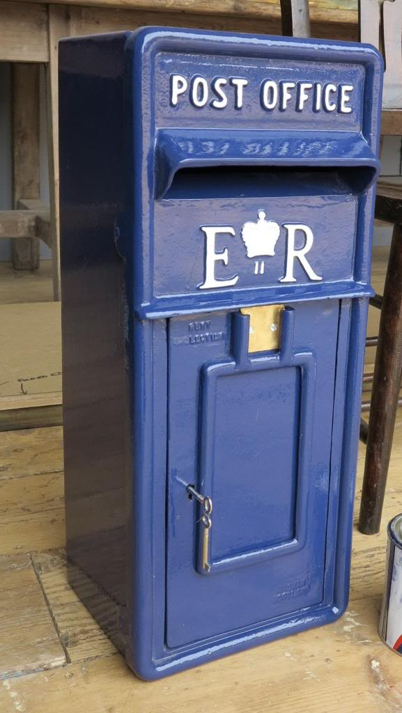 Blue Hand Painted Post Box