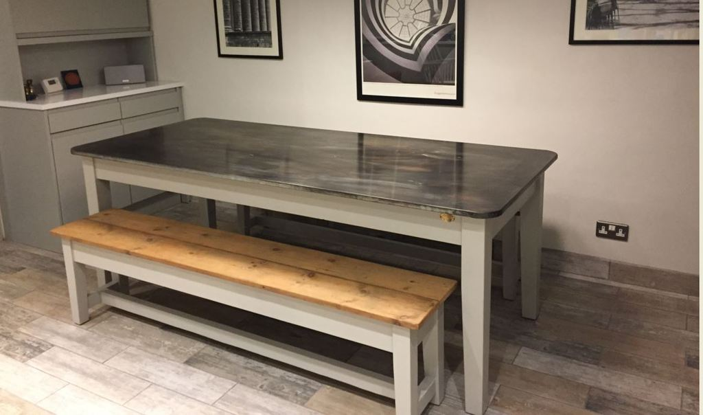 Bespoke solid zinc and wood kitchen or dining table for sale at UKAA with reclaimed pine wooden benches