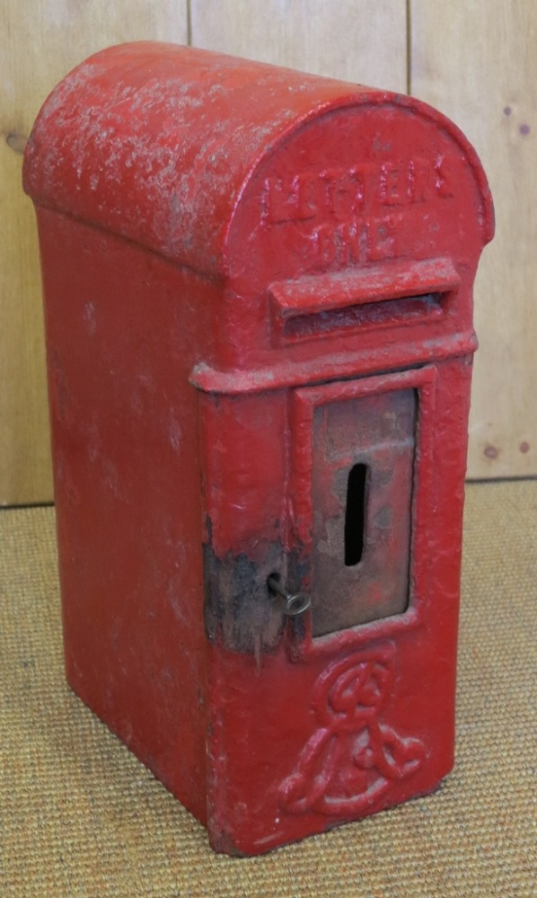 Original reclaimed Royal Mail Edward the 7th Post box fully refurbished, original Chubb lock and key and cage sympathetically refurbished with character