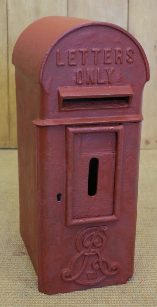 Reclaimed original Royal Mail Post box used by the Post Office Edward 7th box in its original condition complete with Chubb lock and key painted in red.