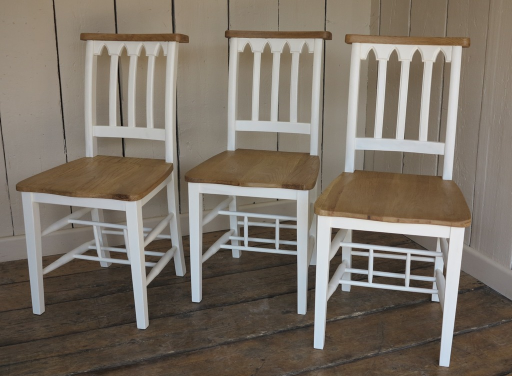 Painted Wooden Church and Chapel Chairs at UKAA ideal for Kitchen Tables or in Dining Rooms Painted a Colour of Your Choice